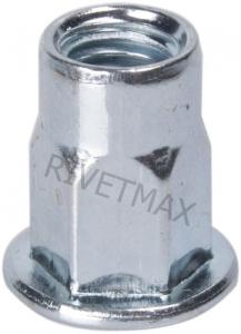 Заклепка гайка полушестигранная с плоским бортом М6 L15,0
